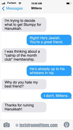 Today on GoComics, Mittens and Mom discuss a Hanukkah gift for Stumpy.