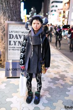 Well-known Harajuku street fashion personality Takuma (he's been snapped in Kera like 10,000 times) in front of LaForet Harajuku.