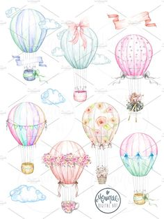 Hot Air Balloons Clipart Watercolor by Monique Digital Art on @creativemarket