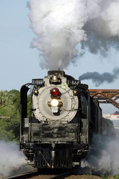 Steam Locomotive No. 844 leaving Del Rio, Texas, by Charles & Clint. The 844 is the last steam locomotive built for the Union Pacific Railroad. Locomotive Diesel, Steam Locomotive, By Train, Train Tracks, Train Art, Old Steam Train, Tramway, Old Trains, Vintage Trains