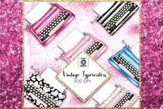 Vintage typewriters clipart set by GìGì Illustrations on @creativemarket