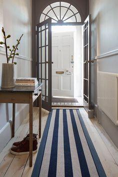 hallway flooring Hallway runner by Roger Oates Narrow Hallway Decorating, Hallway Ideas Entrance Narrow, Long Hallway, Modern Hallway, Entryway Ideas, Entrance Hall, Entryway Decor, Office Decor, Hallway Paint