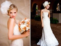 Lace bridal gown and big lace headpiece
