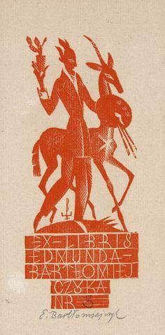 "Edmund Bartlomiejczyk. ""Ex Libris"", 1930, woodcut, 14.3 x 5.8 cm, National Museum, Warsaw."
