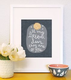 All My Dreams Are of You hand drawn art print  vintage inspired illustration handwritten quote children family nursery moon love bed baby. $18.00, via Etsy.