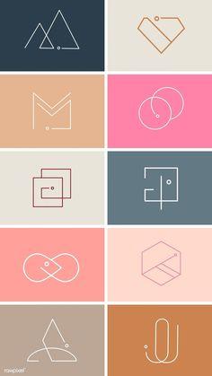 Colorful minimal design logo collection vectors free image by busbus Minimal Logo Design, Graphic Design Trends, Graphic Design Posters, Logo Design Simple, Modern Logo Design, Logo Inspiration, Resume Logo, Logo Branding, Logo Ad