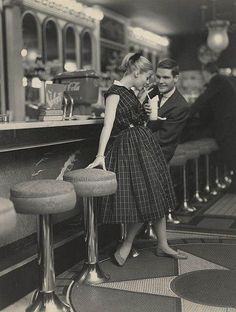 Images like this one of a classic date in the 1950s shaped my idea of boy-girl interactions. Imagine my surprise when I came of age instead in the 1970s, which ushered in a whole 'nother set of behaviors, and very few dates happened with a soda fountain for a backdrop.