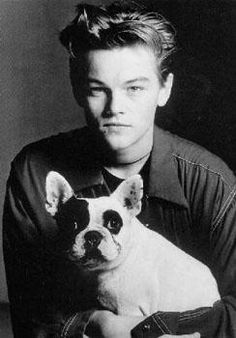 A young Leonardo DiCaprio with his first French Bulldog