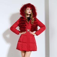 Купить товарЗима куртка длинная, средний женщин зима куртки и пальто с реальным лисий мех гуд куртка женщины марка тёплый abrigos mujer invierno в категории Пуховикина AliExpress.      Средняя длинные женские зимние куртки и пальто с реальными лисий  Меховой капюшон парки для женщин, абсолютно