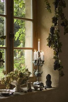 Raindrops and Roses: Photo French Decor, French Country Decorating, Raindrops And Roses, Vibeke Design, Ivy House, Window View, Through The Window, French Country Style, Windows And Doors