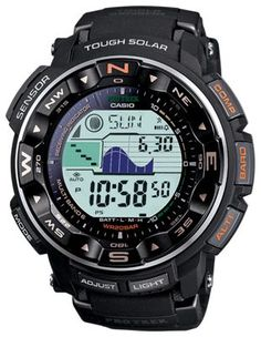 aad666b437f Casio Men s Pathfinder Triple Sensor Tough Solar Digital Multi-Function  Titanium Pathfinder Casual Watch