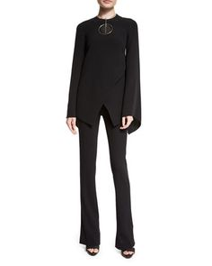 Mulberry+Silk+Cady+Long-Sleeve+Top,+Round+Wood+Pendant+Necklace+&+High-Waist+Boot-Cut+Pants+by+Ralph+Lauren+at+Neiman+Marcus.