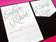 Really want to do invites like these.. Scripted Pocketfold Wedding Invitation  by LittleSparkCreations, $5.95