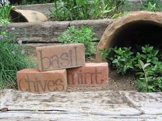 Love these simple brick herb markers!