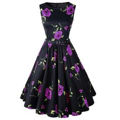 Retro Style Round Neck Sleeveless Roses Print Women's Ball Gown Dress (flowers come in Blue, Purple, Red)