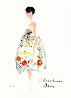 Christian Dior in Illustration Arte Fashion, Dior Fashion, Dress Fashion, Fashion Models, Fashion Design, Fashion Trends, Art And Illustration, Christian Dior, Modelos Fashion