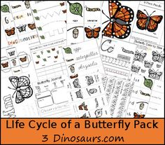Free Life Cycle of a Butterfly Pack - Over 70 pages of activities with print and cursive plus a TOT Pack - Great for ages 2 to 9 - 3Dinosaur.com
