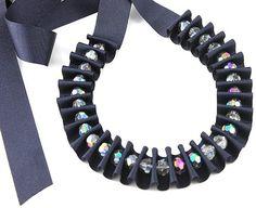 Ribbon jewelry Navy blue pleated ribbon necklace by DapriJewels, £15.00