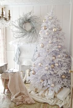 A Softer Side of Christmas - Christmas Tree Decorating Ideas white christmas tree with blush and white decorations, softer side of Christmas Full Christmas Tree, White Christmas Tree Decorations, Silver Christmas Tree, Christmas Mantels, Victorian Christmas, Country Christmas, Beautiful Christmas, Christmas Christmas, Christmas Villages
