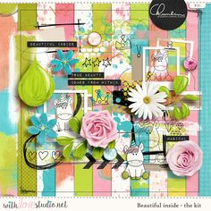 Beautiful Inside  - digital scrapbooking kit by Chunlin Designs. fun artsy kit perfect for art journaling and mixed media layouts