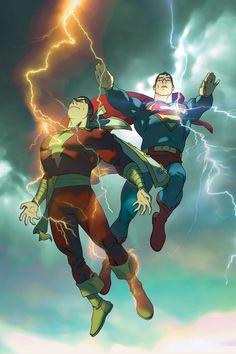 – First Thunder – Deluxe (Superman) by Judd Winick (Hardcover) … Superman / Shazam! – First Thunder – Deluxe Captain Marvel Shazam, Shazam Comic, Dc Comics Vs Marvel, Children's Comics, Dc Comics Characters, Cosmic Comics, Ms Marvel, Superman Art, Avengers
