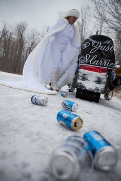 LOVE THIS IDEA - Winter Wedding with Snowmobile Processional: Dawn & William