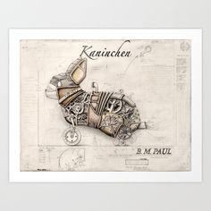 Steampunk Bunny - Kaninchen - by Brandon Mikel Paul Art Print by BrandonMikelPaul   Society6