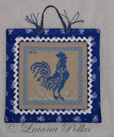 Pinkeep rooster kékfestő cross stitch