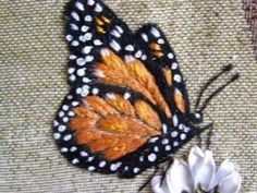 Wonderful Ribbon Embroidery Flowers by Hand Ideas. Enchanting Ribbon Embroidery Flowers by Hand Ideas. Embroidery Designs, Crewel Embroidery Kits, Butterfly Embroidery, Silk Ribbon Embroidery, Embroidery Thread, Cross Stitch Embroidery, Embroidery Supplies, Embroidered Butterflies, Embroidery Tattoo