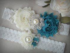 SALE/ Wedding Garter Set Ivory Garter Rhinestone by TIdesigns, $26.75