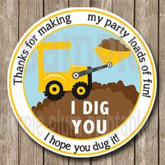 Instant Download - Construction Party Favor Tag - Tractor Backhoe Tag - Print at Home