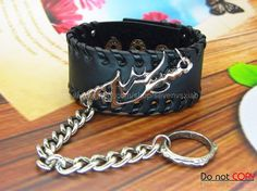Adjustable Black Leather Bracelet  Ring Chain by sevenvsxiao, $13.50