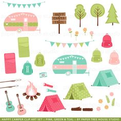 Clip Art Set - Happy Camper - Tent, Backpack, Camper Trailer, Banner, Guitar, Trees, Flowers - 42 Files - JPG and PNG Format - ID252