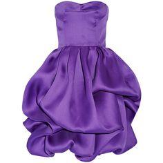 Oscar de la Renta Ruffled silk dress (6.710 RON) ❤ liked on Polyvore featuring dresses, oscar de la renta, short dresses, cocktail dresses, purple, short loose dress, fitted cocktail dresses, loose dress, ruffle dress and silk dress