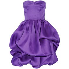 Oscar de la Renta Ruffled silk dress ($1,610) ❤ liked on Polyvore featuring dresses, cocktail dresses, oscar de la renta, purple, frilly dresses, loose fitted dresses, ruffle cocktail dress, structured dress and purple cocktail dress