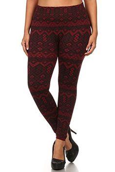 4683af79b9b Women s Plus Size Aztec Print Fleece Lined Fall  Winter Leggings