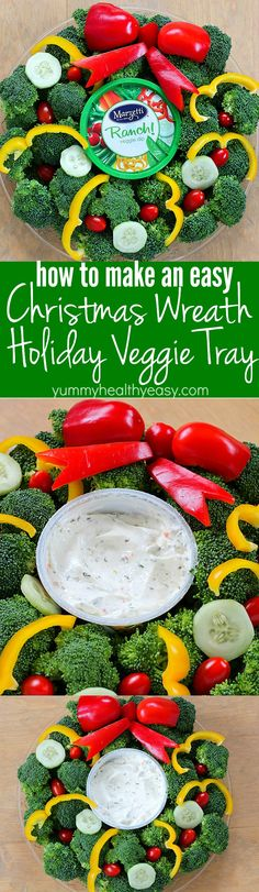 Turn your boring veggie tray into something cute for the holidays with this Christmas Wreath Holiday Veggie Tray! It's simple to make and you'll be the hit of the holiday party! AD
