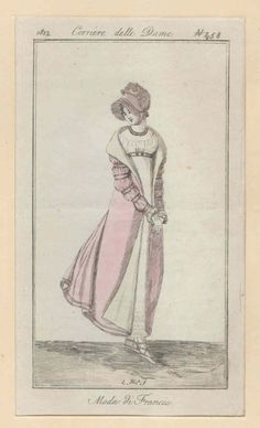 Corriere Delle Dame, 1812.  A big thank you to Julia, a very generous reader who shares scans of her fashion plates with us! I adore this outfit- from the bonnet to the bands on her sleeves to the sweet little shoes!