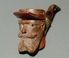 Carved pipes, - Civil War soldier carved briar tobacco pipe, 19th c