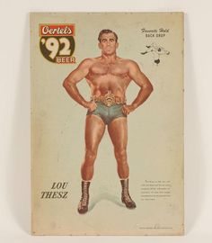 Oertels Beer Advertising Sign 2 1940's Wrestlers