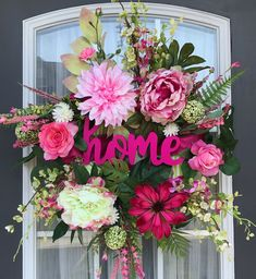 Excited to share the latest addition to my shop: Pink Home Wreath- Front Door Wreath- Floral Wreath- Spring Wreath- Summer Wreath- Everyday Wreath