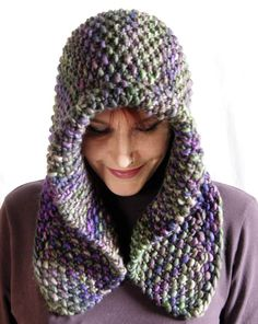 Knitting Pattern for Quick Shaped Hood Cowl - Versatile cowl can be worn several ways. A quick knit, with large needles with Extra Super Bulky yarn (165 – 180 yds). Great with multi-color yarn.