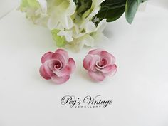 Adorable  Bone China Pink Rose Flower Clip by PegsVintageJewellery, $6.00