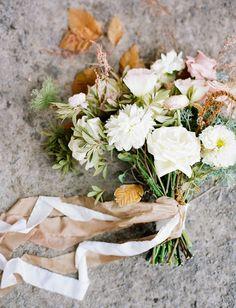 White + Leaf Bouquet. #Wedding