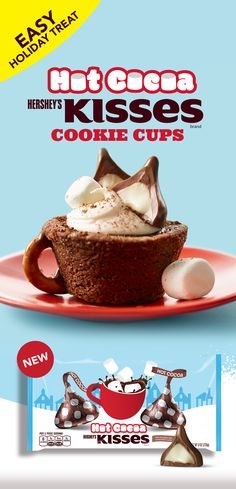 What better way to welcome sweater weather than with a cookie cup topped with HERSHEYS Hot Cocoa Kisses Chocolates. With a recipe almost as easy as making a cup of hot cocoa, these cookie cups are the perfect treat to enjoy throughout the winter season. Cocoa Cookies, Holiday Cookies, Holiday Treats, Holiday Recipes, Hot Coco Cookies, Köstliche Desserts, Holiday Baking, Christmas Desserts, Picnic