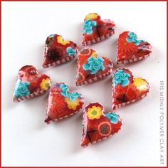 Polymer clay heart pillow beads - ~Lolypop~