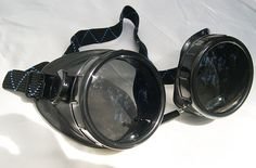 BURNING MAN COMBO-Black Vintage-Look Basic Steampunk Do-It-Yourself Motorcycle Riders Welders Goggles with Day and Night Lenses- Playa Ready by jadedminx on Etsy