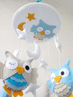 "Free shipping - Baby Crib Mobile - Baby Mobile - Nursery Crib Mobile - Custom colors - Turquoise and Beige Owl Mobile ""Sleeping Owls"""
