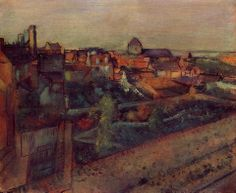 Edgar Degas (French, Impressionism, 1834–1917): View of Saint-Valery-sur-Somme, c. 1896-1898. Oil on canvas.