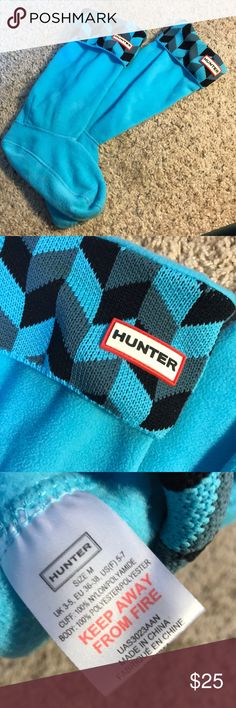 Hunter - Geometric Boot Socks - Blue - Medium To be worn with the Tall Hunter Boots!!  Good as new. Worn 1-2 times. Hunter Boots Shoes Winter & Rain Boots